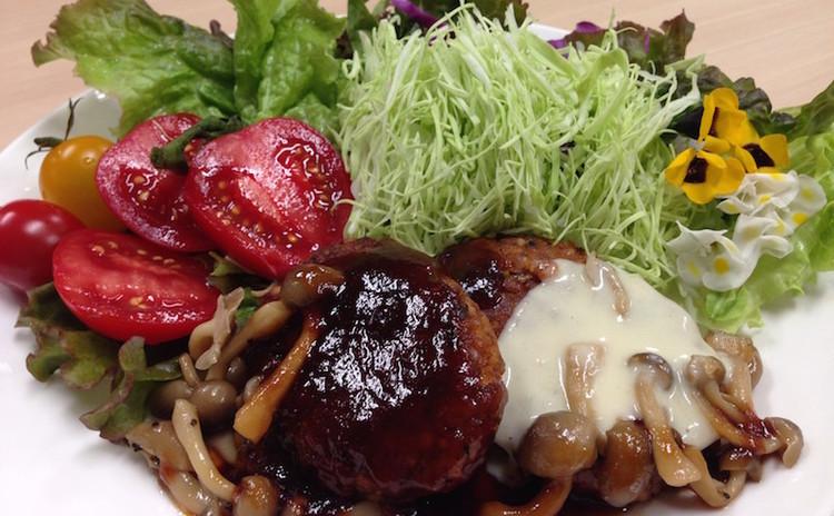 栄養満点のタカキビハンバーグ♪と七分づき無農薬ごはん&野菜だしの味噌汁