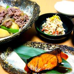 【メイン2品の一汁三菜】肉じゃが ぶり照り焼き 卯の花 味噌汁