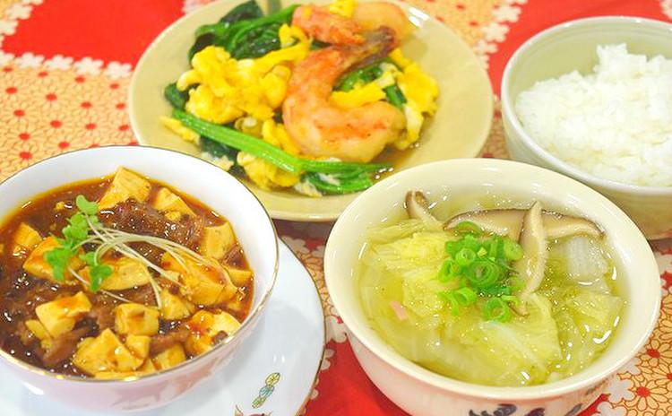 辛さと香りの絶品麻婆豆腐とふんわり優しいエビ卵炒めを作りましょう♫