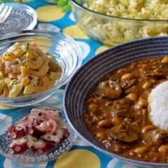 ルウを使わない絶品キーマカレー♡カルパッチョや春野菜の副菜&サラダも♬