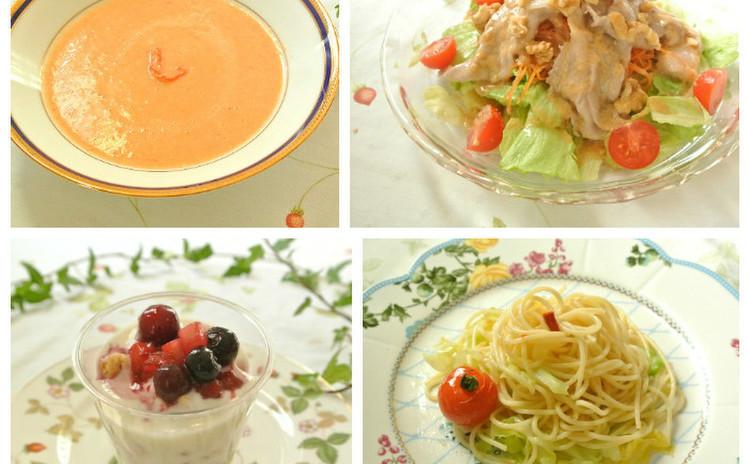 ズワイ蟹のトマトクリームスープ♡豚しゃぶサラダ&春キャベツのパスタ