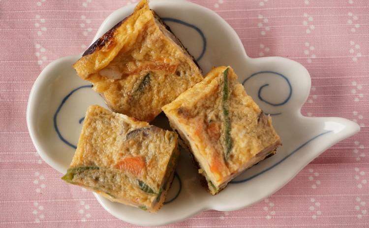 お花見に炙り五目いなりと彩り玉子焼、鮭のレモン焼+ささみじゃが団子揚げ