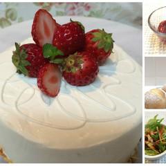 春の始めのお祝いケーキ!苺のババロアを忍ばせて素敵にデコレーション♪