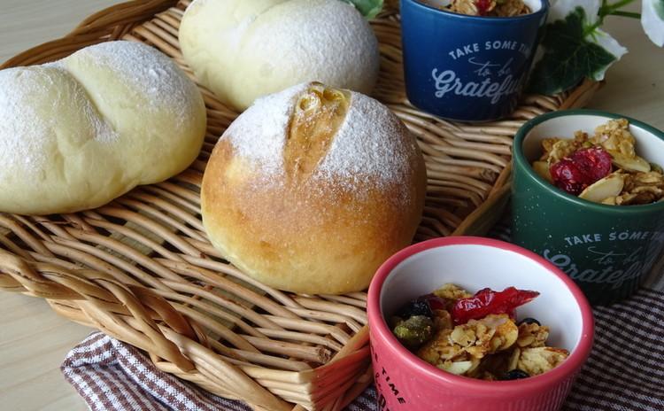 国産小麦でふわもち白パン・コーンパン☆話題の米油使用おやつグラノーラ
