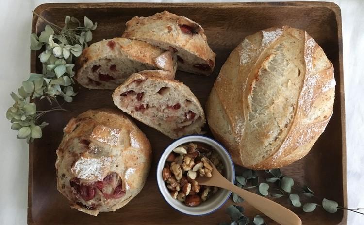 ヨーグルト酵母パン!木の葉クープカンパ&クランベリー、二種の全粒粉パン