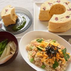 おもてなしメニュー♪ 玄米ちらし寿司とふんわり桜のシフォンケーキ