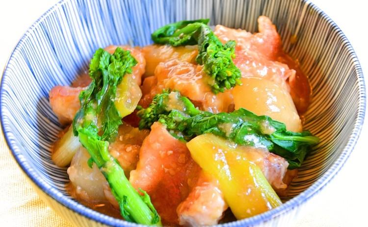 旬魚と菜の花のこっくり煮
