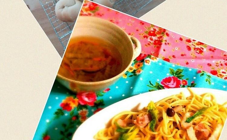 菜の花の春パスタとメープルパン