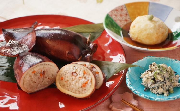【子連れ限定】春ごはん イカめし、春野菜の白和え&新じゃが饅頭の亀甲餡