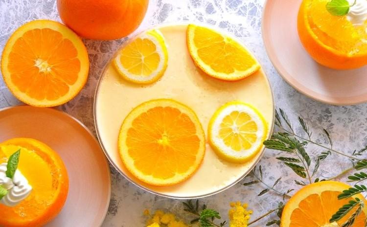 爽やか!夏を先どり!オレンジとヨーグルトの口どけムース&ゼリー