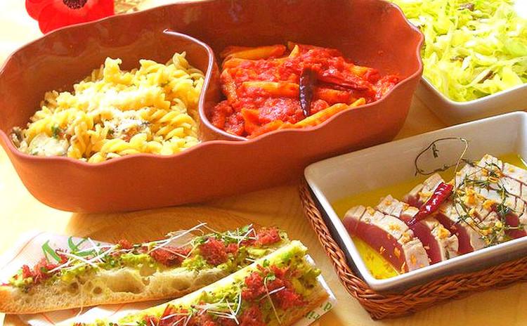 2種のパスタ&マグロのオイル煮etc...春のカジュアルイタリアン