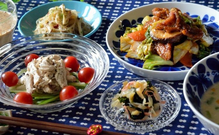 おうち中華♪回鍋肉をメインに棒棒鶏&自家製ゴマドレッシング、副菜も♡