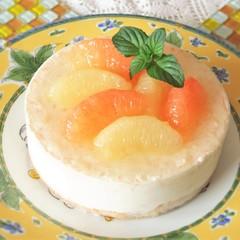 初夏のアントルメ☆グレープフルーツとライチのムース&チョコのクラフティ