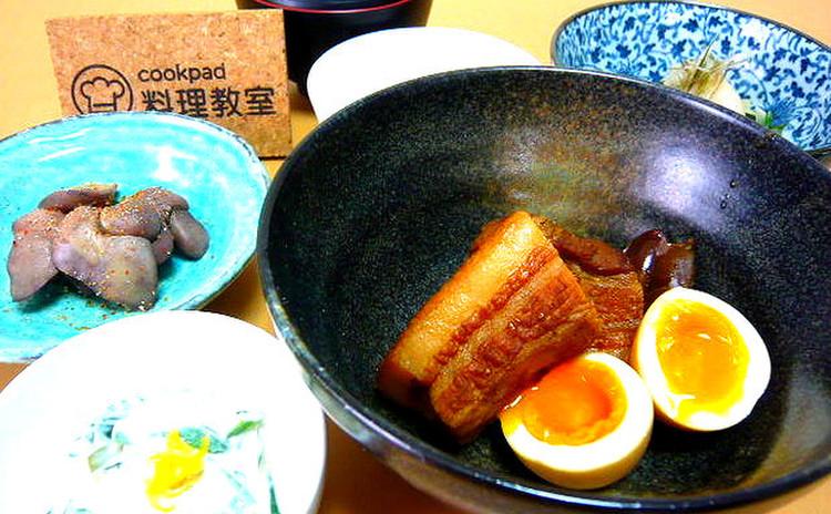 豚の角煮 酢の物 白和え 鶏肝味噌漬け