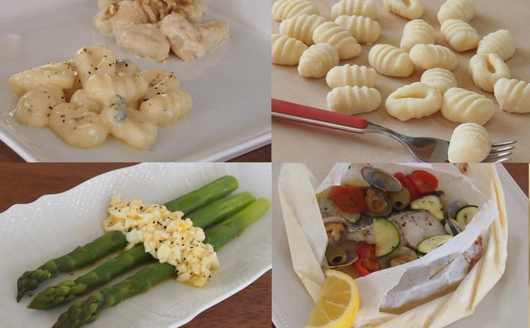 ふんわり食感のニョッキ、魚の紙包み焼き、アスパラガスのビスマルク風