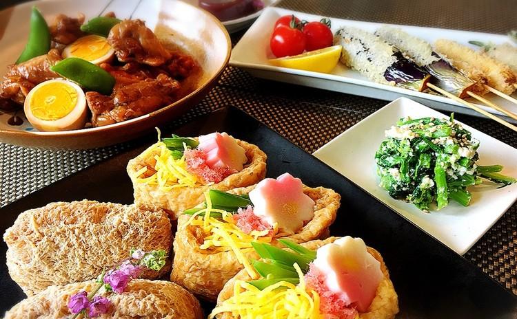 春の彩りいなりずしと鶏のさっぱりお酢煮♫野菜の串揚げ他2品