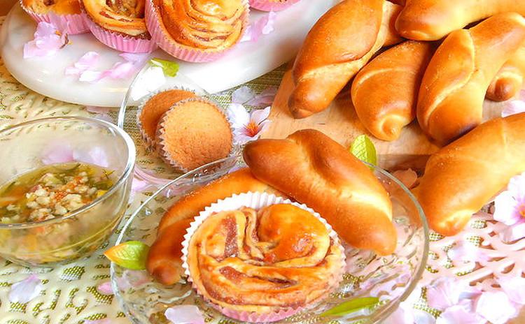 【苺ロール&塩パン】手ごねで基本のパンづくり!簡単マドレーヌも♪