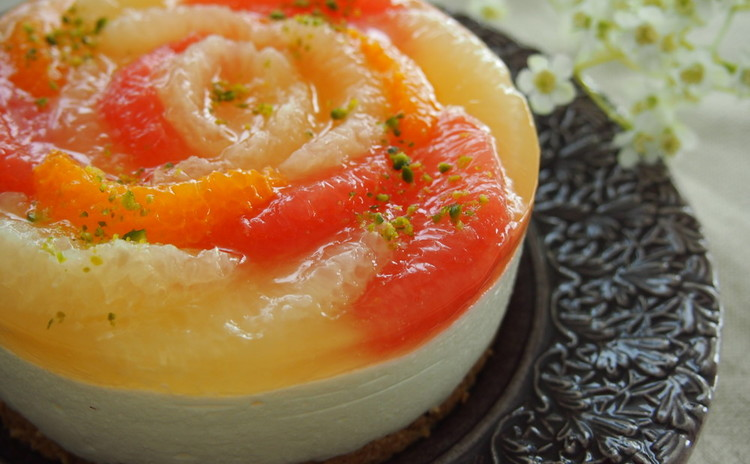 日程追加!初夏の香り♪グレープフルーツのなめらかレアチーズケーキ