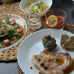 【美肌的】★ポークステーキ★フムス★トマトのコンポートの洋食コース