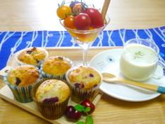 料理レッスン写真 - 初夏のブランチ*ラズベリーとクリームチーズのマフィン・空豆のポタージュ