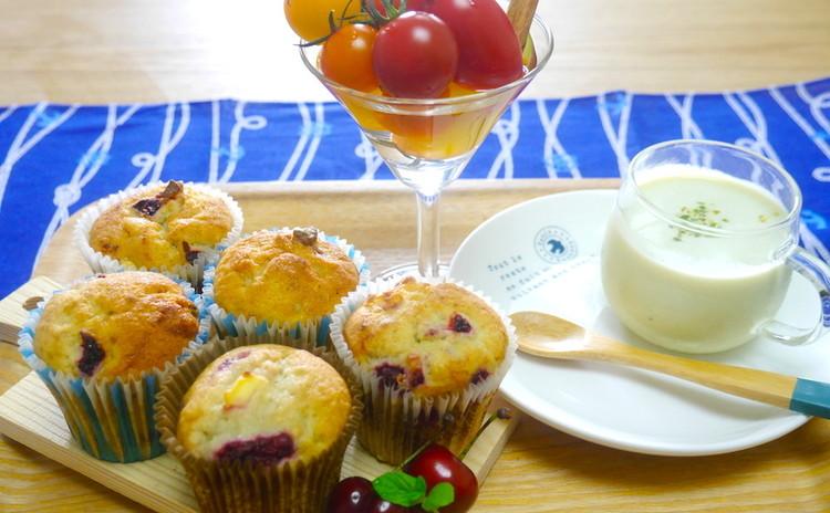 初夏のブランチ*ラズベリーとクリームチーズのマフィン・空豆のポタージュ
