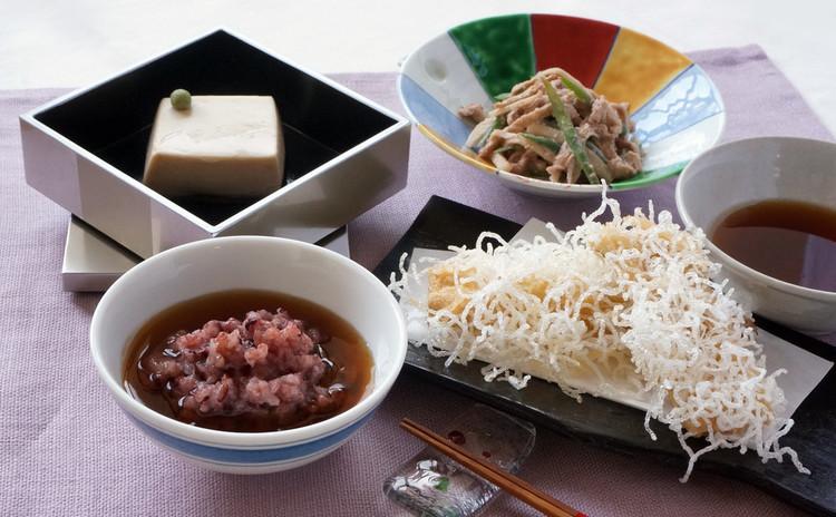 本格懐石胡麻豆腐に挑戦!穴子の美味しい春雨揚げ&ウドの胡桃和えと黒米粥