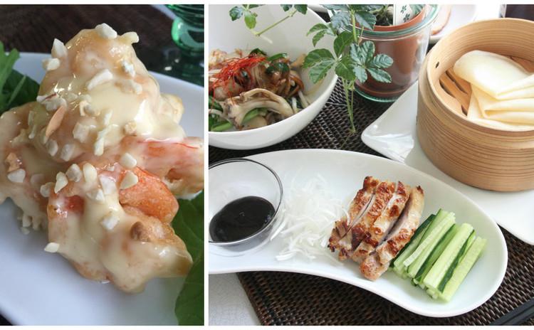 再:中華でおもてなし/海老マヨ・季節の野菜とトック餅のXO醤炒め・春餅