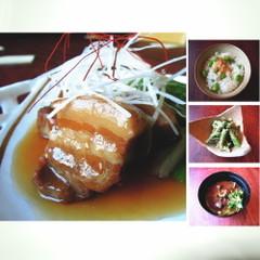 夏でも美味しい和食屋さんの豚角煮。隠元の胡麻和え・枝豆ご飯・シジミ汁。