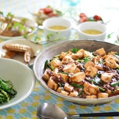 簡単だから何度でも 麻婆豆腐、とろとろ中華風卵スープ、豆苗のさっと炒め