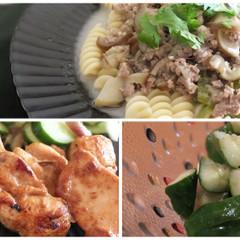 夏の暑さを乗り切る!ペンネでタイカレー&タイ風チキン&胡瓜の浅漬け