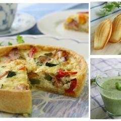 夏野菜のキッシュとレモン風味マドレーヌ&枝豆の冷製スープでおもてなし!