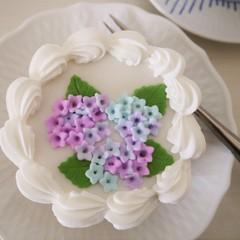 あじさいのケーキデコレーション