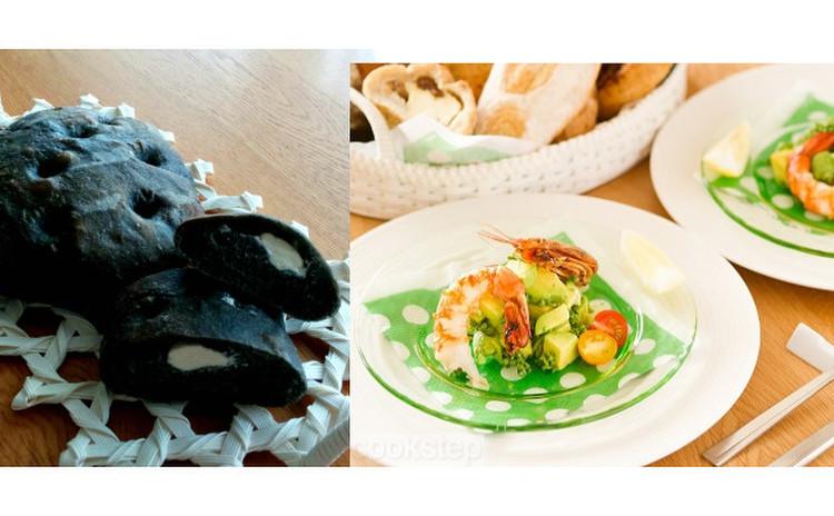 イカの黒墨とクリームチーズのパン 黒と白のカラーも楽しんで!