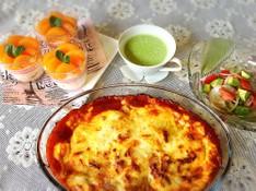 料理レッスン写真 - 王道のラザニアとグリンピースの冷たいスープ☆みかんのヨーグルトプリン♫