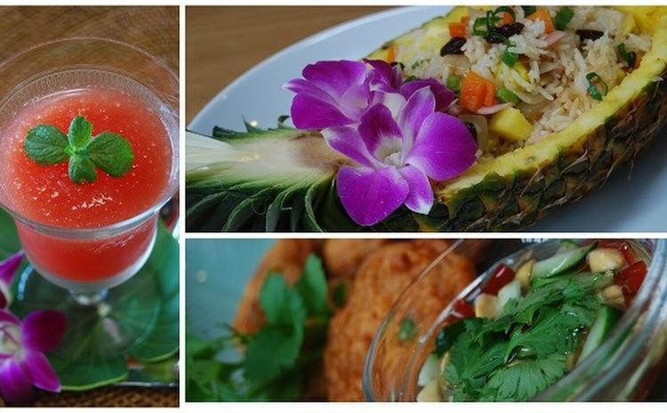 本場タイ料理をご自宅で!パイナップルの器の炒飯に歓声があがります☆