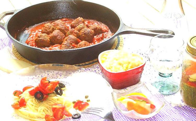 夏野菜たっぷりイタリアン♪トマトの冷製パスタ&エスニックミートボール