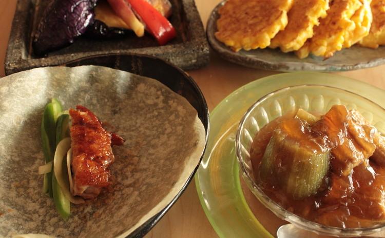 日程追加 穴子と茄子のゼリー寄せ 鶏肉の北京ダック風 揚げ野菜マリネ