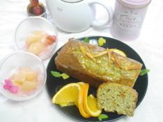 料理レッスン写真 - アールグレイとオレンジのパウンドケーキ&まるごと桃のグラニテ