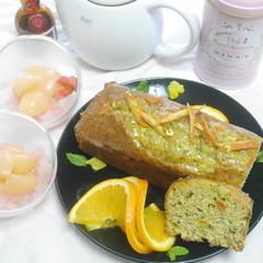 アールグレイとオレンジのパウンドケーキ&まるごと桃のグラニテ