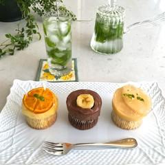 手作り桃のコンポート&夏のフルーツ3種マフィン