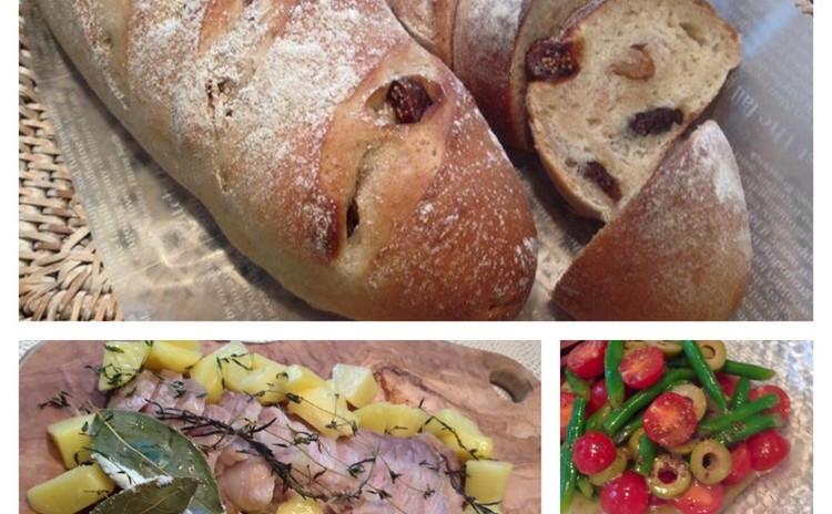 無花果と胡桃のライ麦パン塩釜ローストポーク