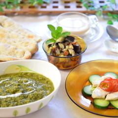 緑の野菜たっぷり!健康グリーンカレーと米粉入りもっちりナンをマスター☆