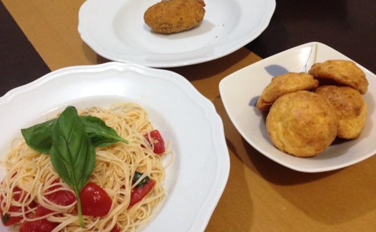 夏でも食欲増!トマトたっぷり冷製パスタ&クリームコロッケ&チーズシュー