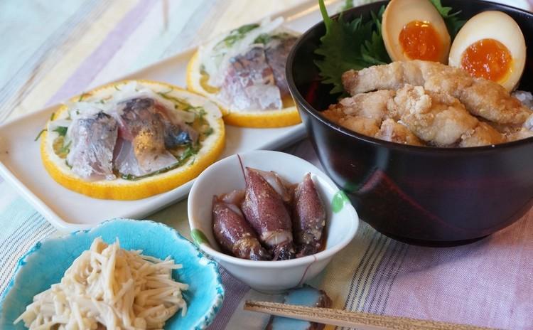 【リクエストメニュー】鯵三枚おろしで夏みかん盛り&唐揚げ半熟煮卵ごはん