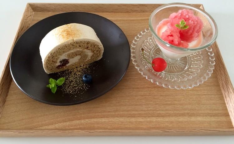 ふわふわ!きな粉クリームのロールケーキ&ココナッツのブランマンジェ