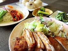料理レッスン写真 - キムチとチーズのミルフィーユカツとピビン麺♫ゴーヤの味噌炒め他2品