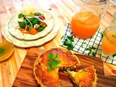 料理レッスン写真 - 外はサックサク!チコリとハムのキッシュとオレンジとクルミのサラダ