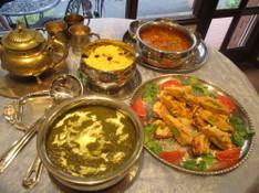 料理レッスン写真 - 緑のホウレン草チキンカレー作り!豆と野菜スープとべジカバブも!