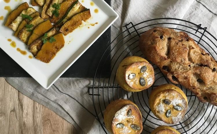 自家製酵母パン!パンプキンシャンピニオン&レーズンシュガー、焼きサラダ