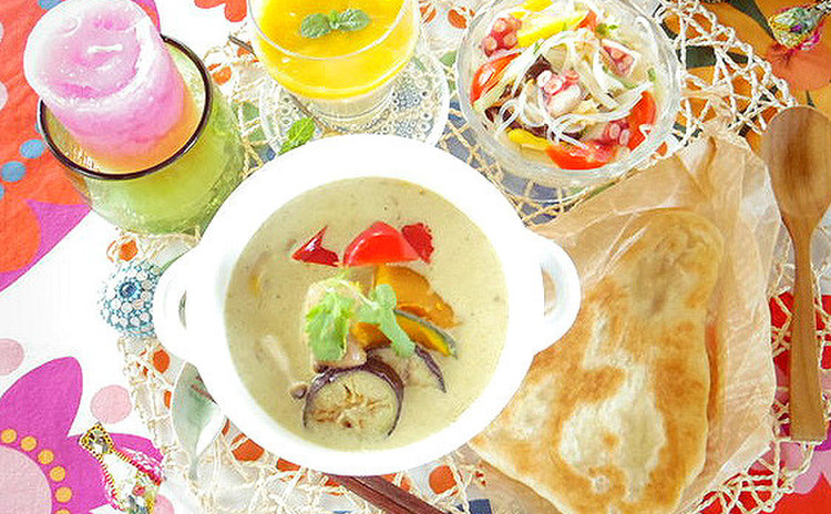 日曜開催!タイ風グリーンカレーと手作りナン♪つるるんサラダ&デザート付